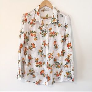 Old Navy White Red Floral Button Down Blouse